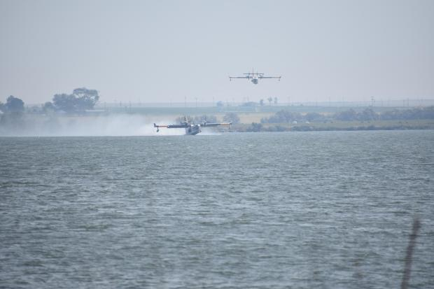 Photo of two Super Scoopers at Murtaugh Lake