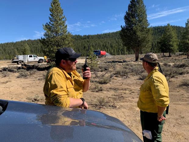 Brush collection operations Alturas Lake on Jakes Gulch Fire