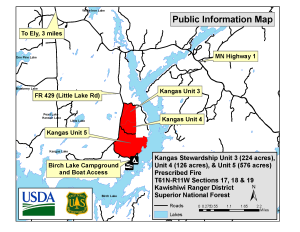 A map showing the location of the Kangas prescribed fire near Birch Lake