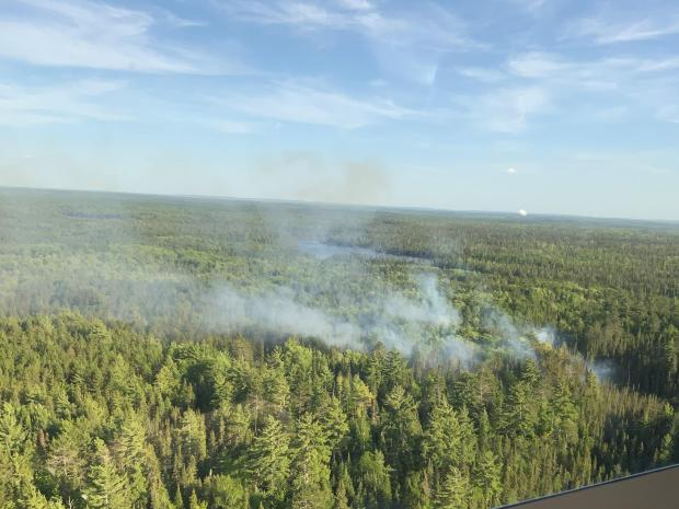 Aerial view of light smoke from the Hassel Lake Fire on June 5, 2021