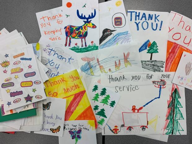 Kids making cards at Delta Lake Fire