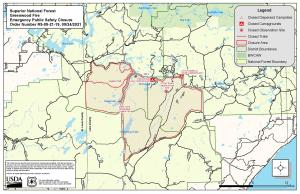 Map that shows the closure are of forest lands and trails near the Greenwood Fire.