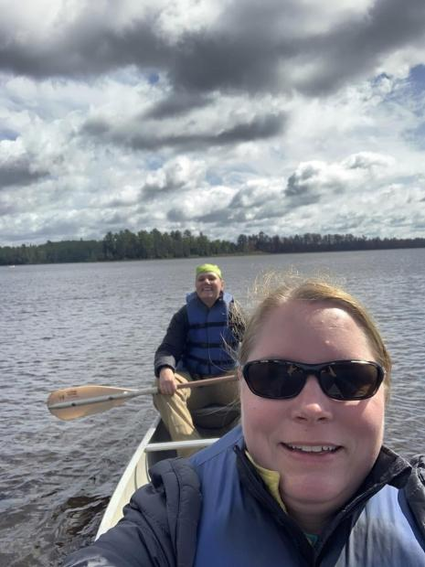 Division Supervisors Washburn and Hansen Access the Fire by Canoe - Credit Reny Hansen
