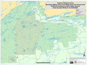 Map of the closure area around the John Ek and Whelp Fires in the BWCAW.