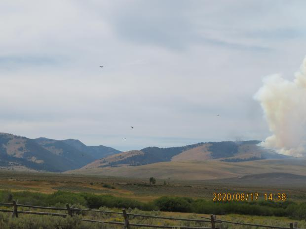Aerial resources working the southern flank of the Bear Creek Fire August 17, 2020