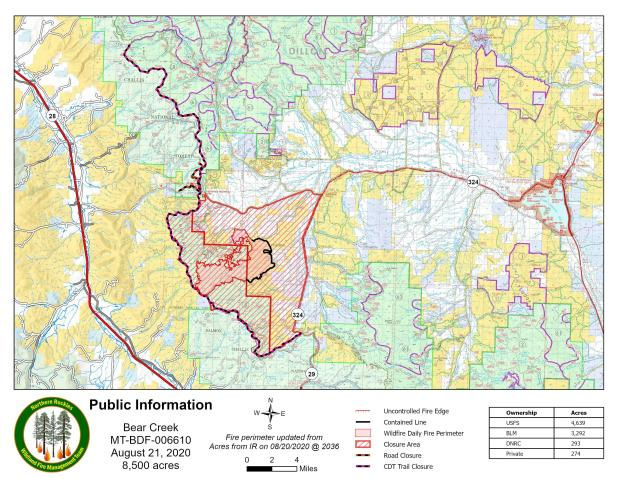 PIO Map of Bear Creek Fire with Closures August 21, 2020