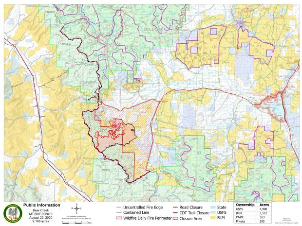 PIO Map of Bear Creek Fire with Closures August 22, 2020