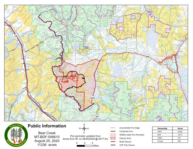 PIO Map of Bear Creek Fire with Closures August 25, 2020