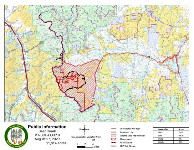 PIO Map of Bear Creek Fire with Closures August 27, 2020