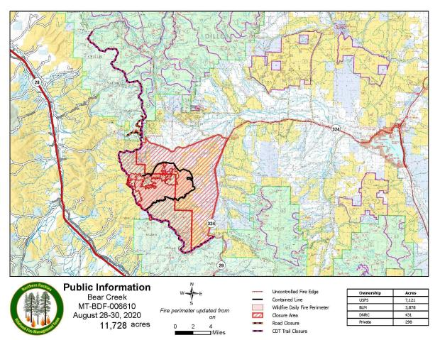 PIO Map of Bear Creek Fire with Closures August 29, 2020