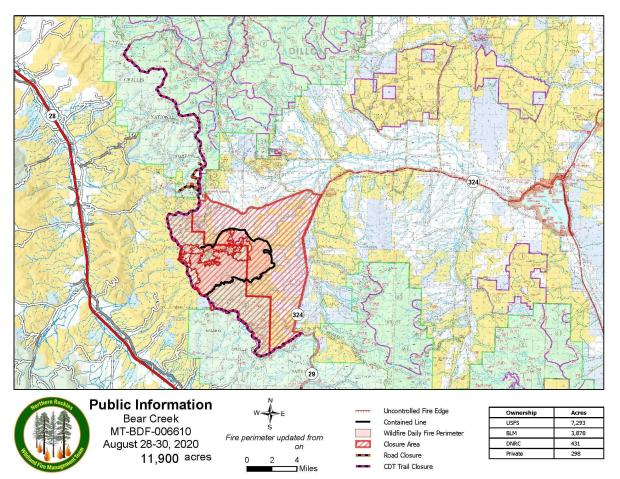 Map of Bear Creek Fire with Closures August 30, 2020