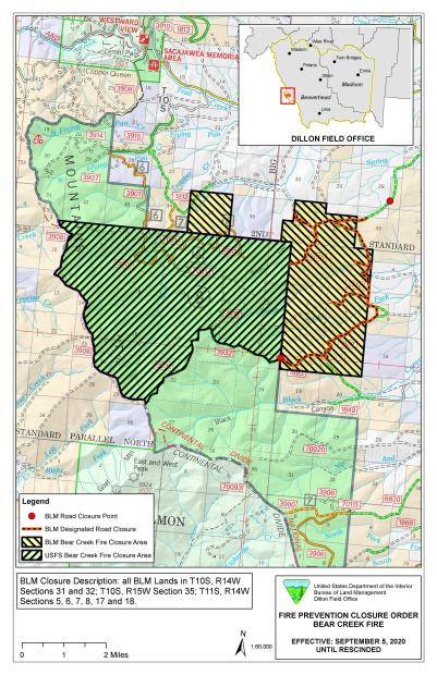 Bear Creek Fire Closure Map showing both FS and BLM Lands