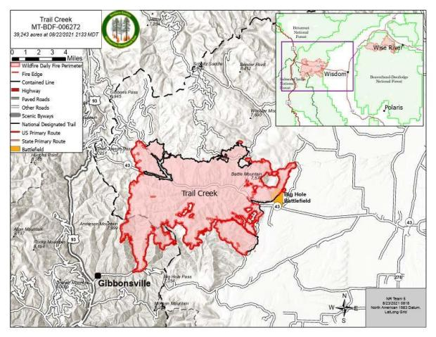 Trail Creek Map for August 23