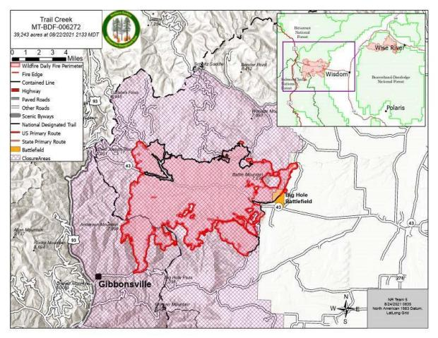Trail Creek Map for August 24