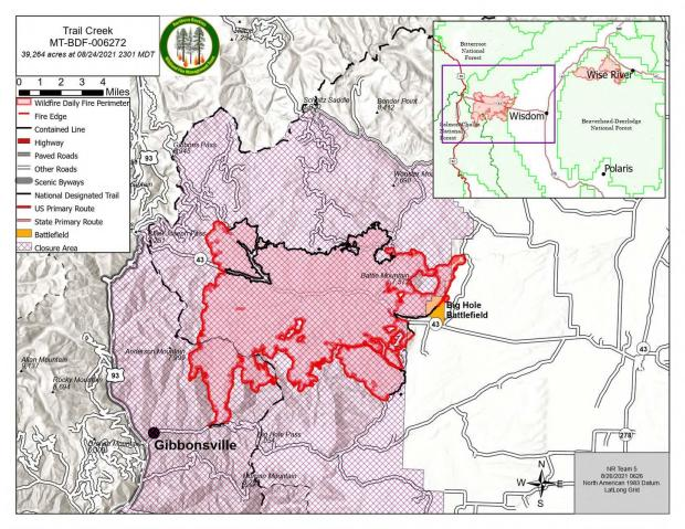 Trail Creek Map for 8/26/21