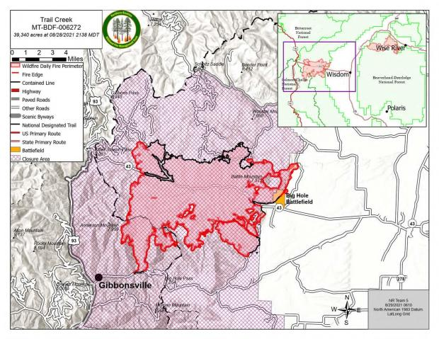 Trail Creek Fire map for August 29, 2021.