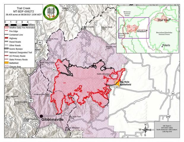 Trail Creek Fire Map for August 31, 2021