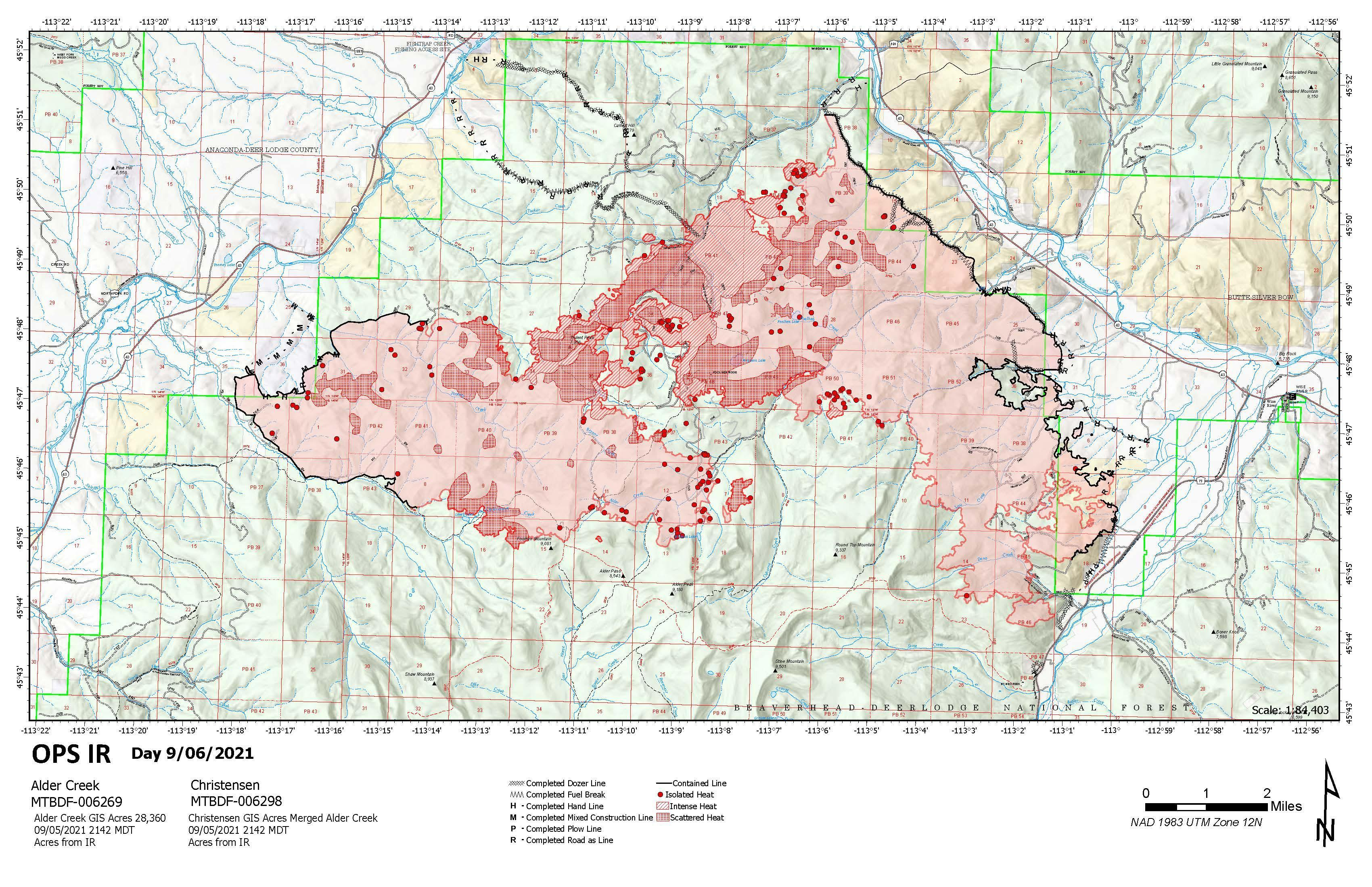 Topographic Map of fire area
