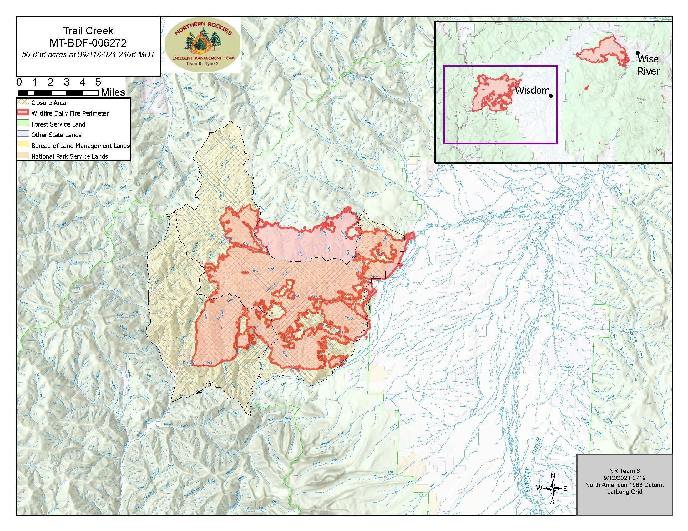 Topo map showing fire are and closure area