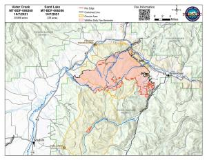 Map of Alder Creek and Sand Lake fires and closure areas