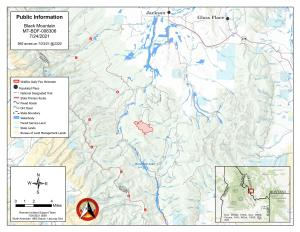 Publicly available vicinity map of the Black Mountain fire perimeter