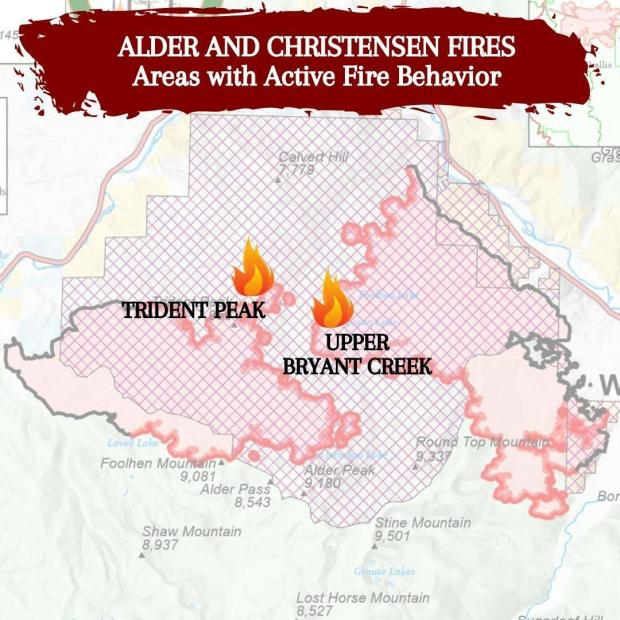 Graphic explaining the areas of active fire behavior on the Alder Creek and Christensen Fires September 3, 2021