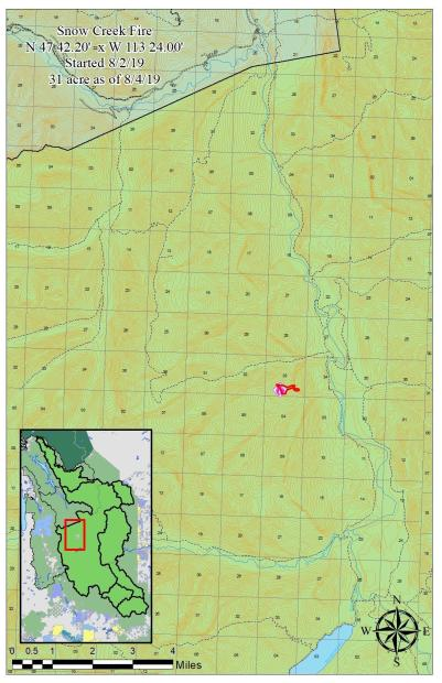 The area map shows the perimeter of the fire on 8/4/19. The fire is burning in the Snow Creek drainage on the Spotted Bear Ranger Station, approx. 1.5 miles W of the South Fork of the Flathead River and 1.5 miles SW of the Black Bear Administrative Cabin.