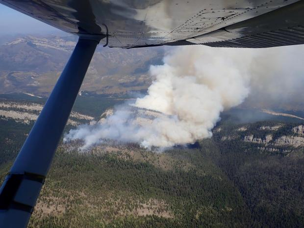 The Snow Creek Fire as seen looking east. An extreme increase in fire behavior occurred during the afternoon of 8/5; since the time of the photo, short crown runs to the north and spotting across the river to the east have continued to be observed.