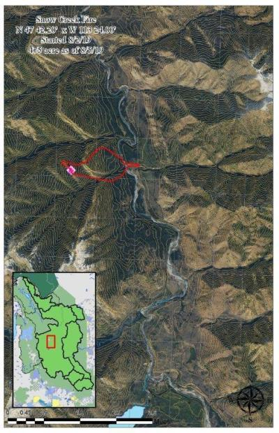 The Snow Creek Fire perimeter as of 8/5/19. The Fire is actively burning in the Snow Creek drainage, and is beginning to spread north into the adjacent Hungry Creek drainage. Spot fires have been observed across the river in the mouth of Helen Creek.