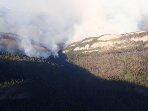 The Snow Creek Fire as seen looking east into the Snow Creek Drainage. The fire continued to actively burn in the Snow Creek drainage throughout the night on 8/6/19.