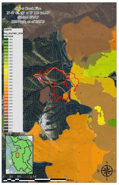 This map shows the perimeter of the Snow Creek Fire as of 8/6/19 as well as the historical fire perimeters for the surrounding area.