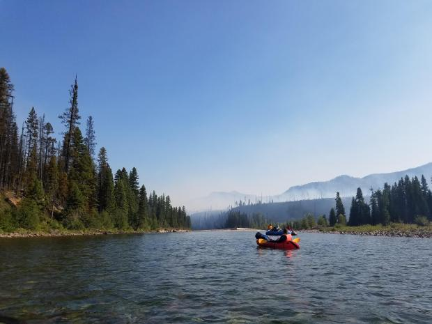 The Spotted Bear Ranger District wildland firefighter certified river ranger crew escorted multiple float parties that were unable to seek an alternate route through the closure area on the morning of August 6th, 7th, and 9th. Photo by Erik Nelson.