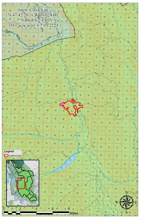 The Snow Creek Fire Perimeter map as of 8/7/19. The fire is actively burning on the east and west side of the South Fork of the Flathead River in the Helen, Hungry, and Snow Creek drainages.