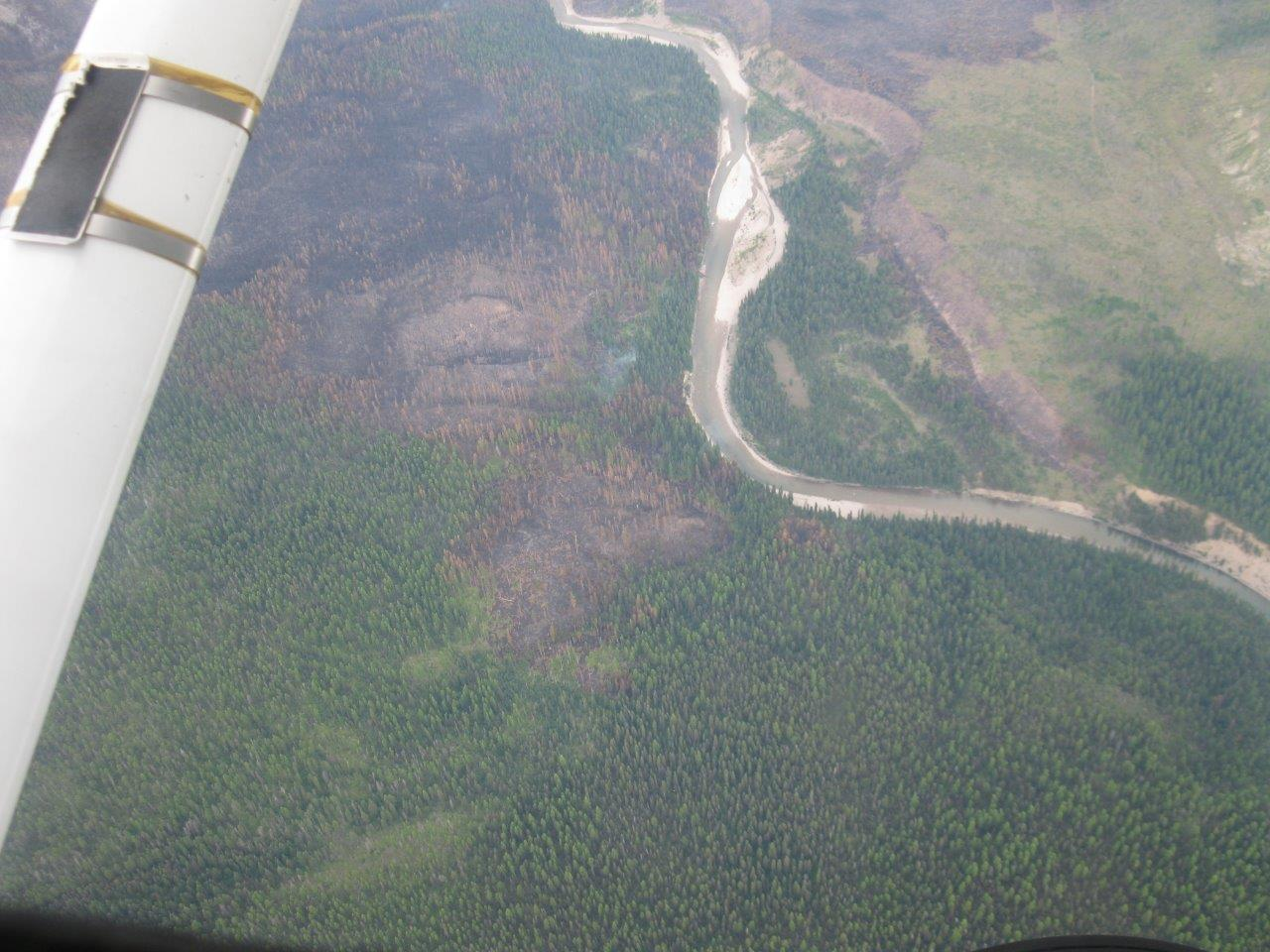 The Snow Creek Fire as seen looking north down the South Fork of the Flathead River. Trail #80 can be seen to the east in the top right of the picture.