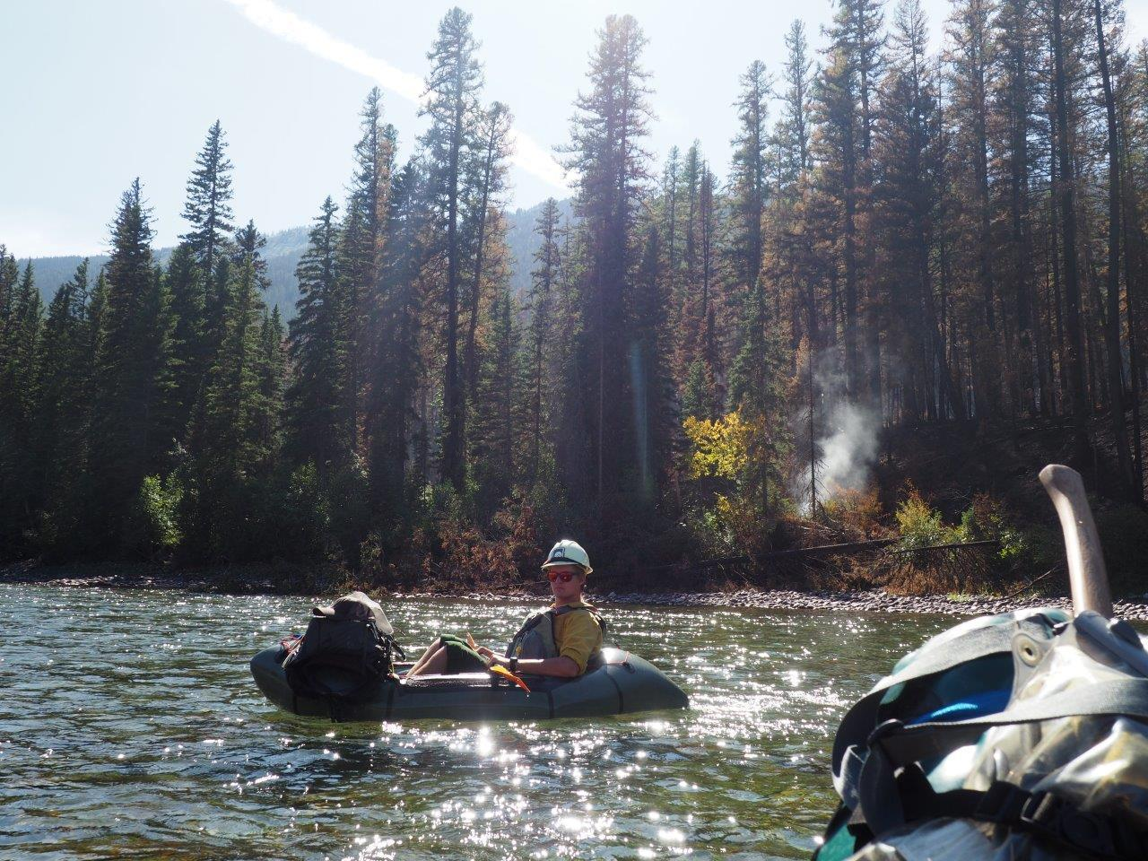 Spotted Bear Ranger District's wildland fire certified river rangers floated down the South Fork of the Flathead River on 8/19/19. The crew assessed damage from the Snow Creek Fire prior to the altering of the area closure. Photo by Fischer Gangemi.