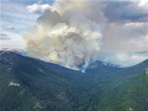 The Drumming Fire as seen looking northeast up the Lodgepole Creek drainage (1800 MDT).