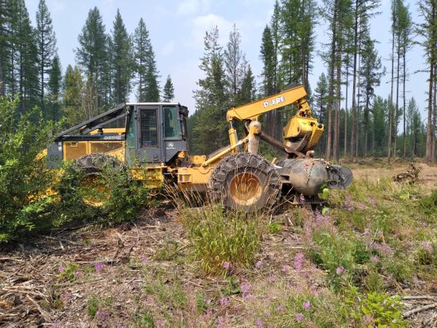 A large skidder, used to drag whole trees, is parked along Hay Creek Road