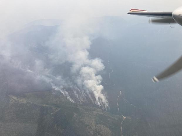 Smoke drifts from the trees in an aerial view of the fire, photo taken my an aerial reconnoisance aircraft.