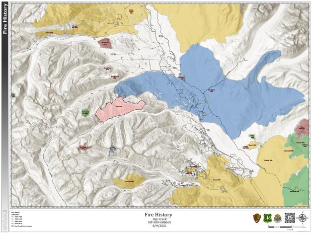 Hay Creek Fire History Map for August 9, 2021