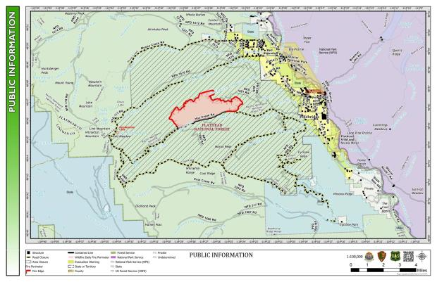 Map shows the fire perimeter of the Hay Creek Fire as of August 10, 2021.
