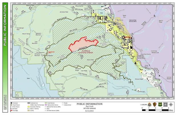 This map shows the perimeter of the hay creek fire as of August 13, 2021