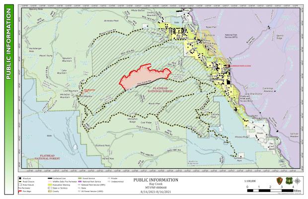 This map shows the perimeter of the Hay Creek Fire for August 14-16.