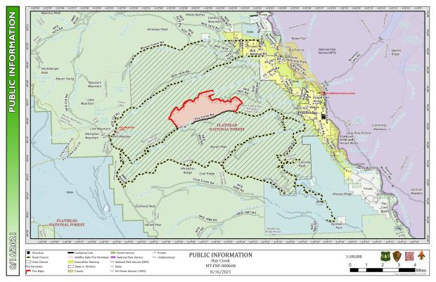 This map shows the perimeter of the Hay Creek Fire for August 16,2021