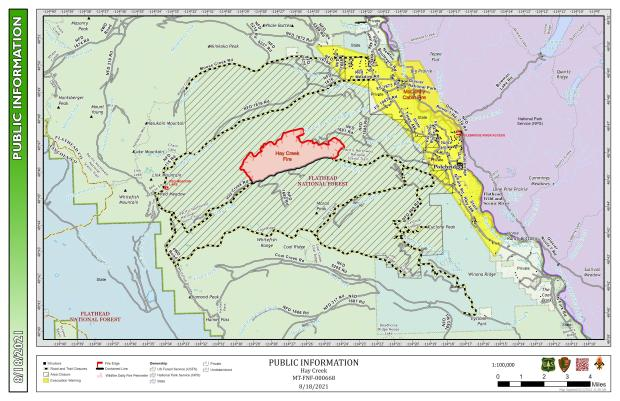 This map shows the perimeter of the Hay Creek Fire for August 18,2021