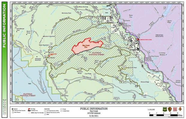 This map shows the perimeter for the Hay Creek Fire for August 20, 2021