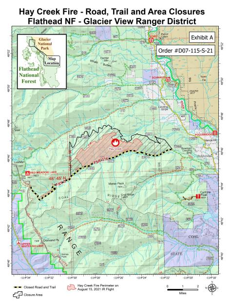 Hay Creek Fire Road, Trail and Area Closures August 23, 2021. Hay Creek Road is closed from its terminus with Hay Creek Trail #3 to its junction with road 1685. Hay Creek Trail #3 is closed.