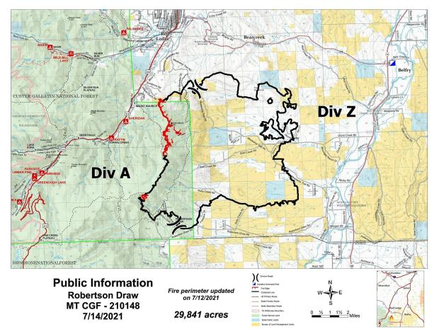 Map of the Robertson Draw Fire; July 17, 2021