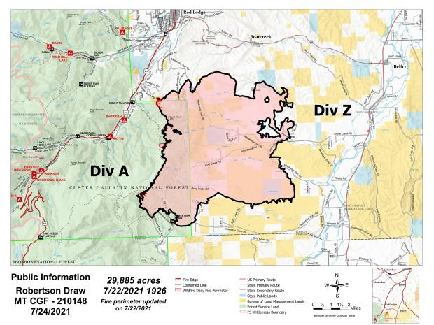Map of Robertson Draw Fire released on 7/24/21