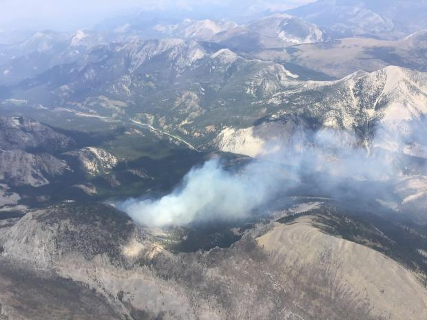 Aerial image of the Wood Lake fire on August 18th