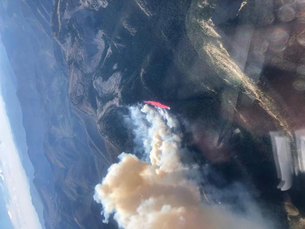 Aerial image of a retardant drop on the Wood Lake Fire